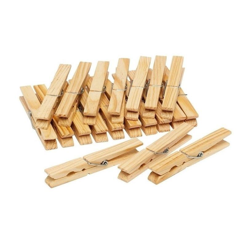 150x Houten wasknijpers-wasgoedknijpers 7 cm