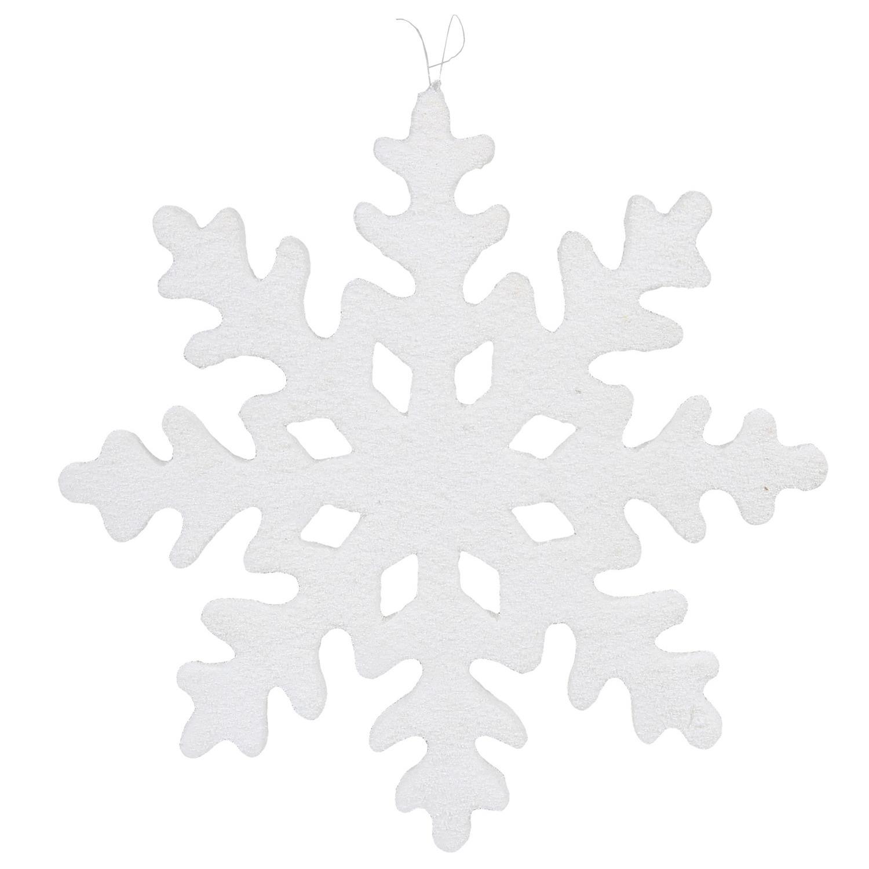 1x Grote witte decoratie ijsbloemen wit 40 cm