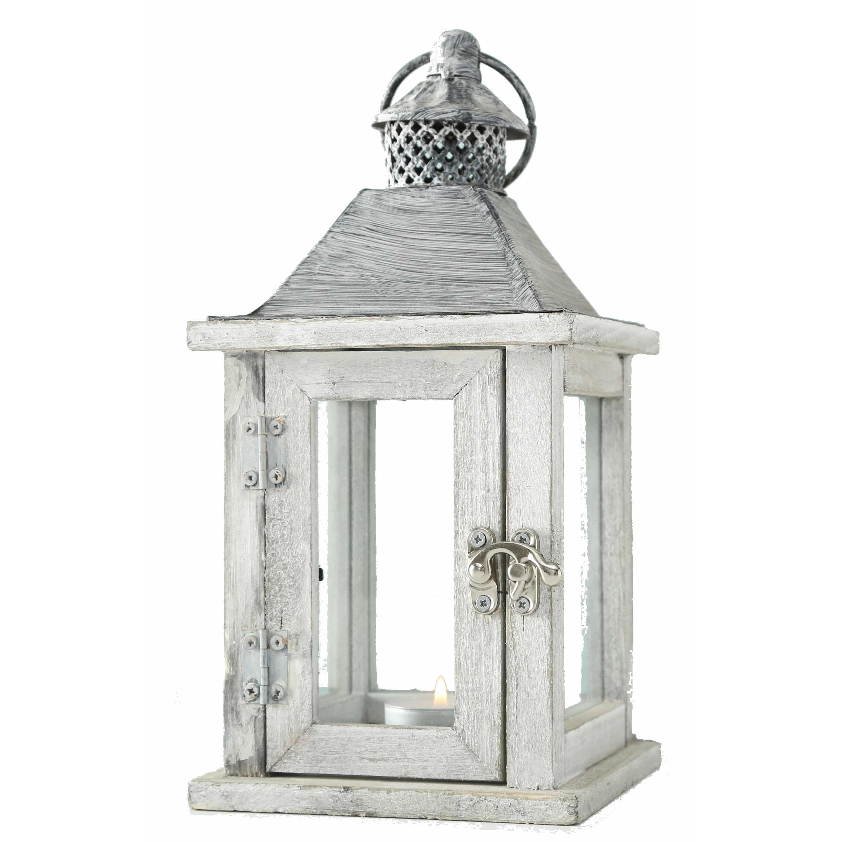 1x Houten lantaarn-windlicht kaarsenhouders wit 13 x 25 cm