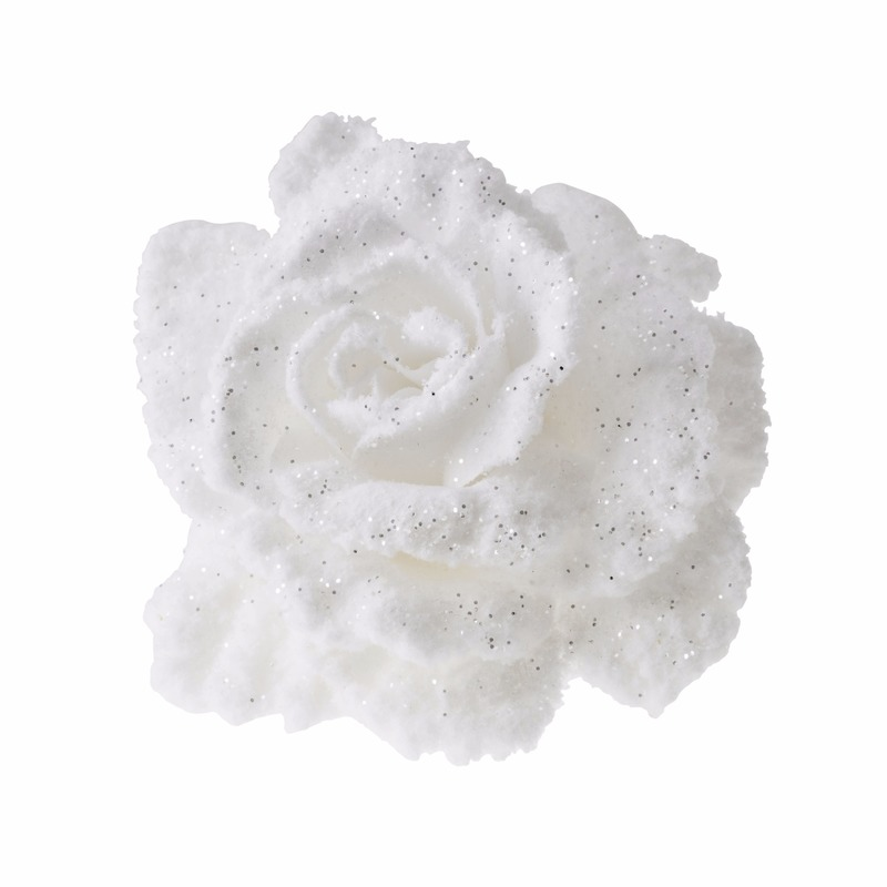1x Kerstboom versiering witte kerstbloemen