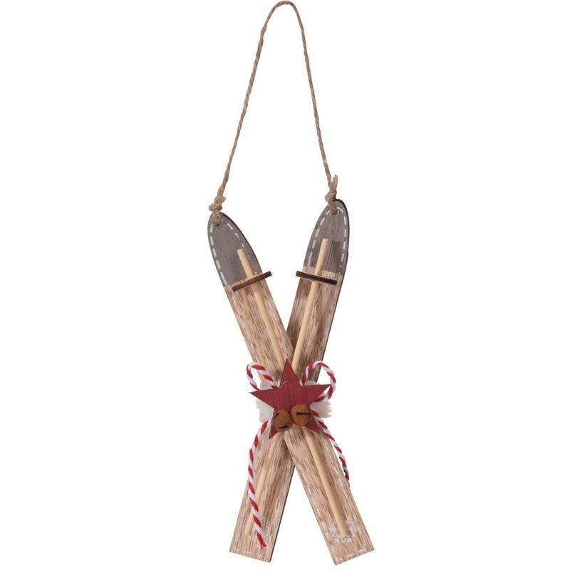 1x Kerstboomhanger-Kersthanger bruine ski van hout 17 cm