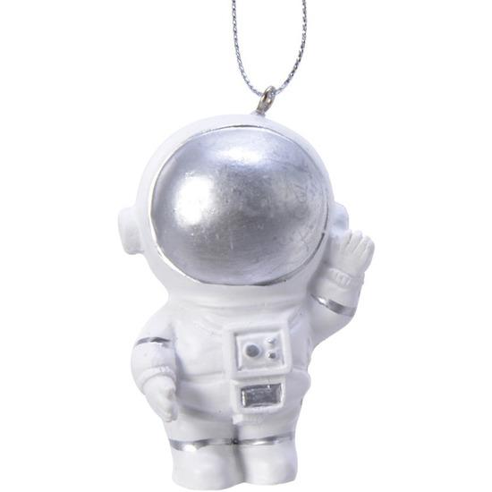 1x Kerstboomhangers witte astronauten 7 cm kerstversiering