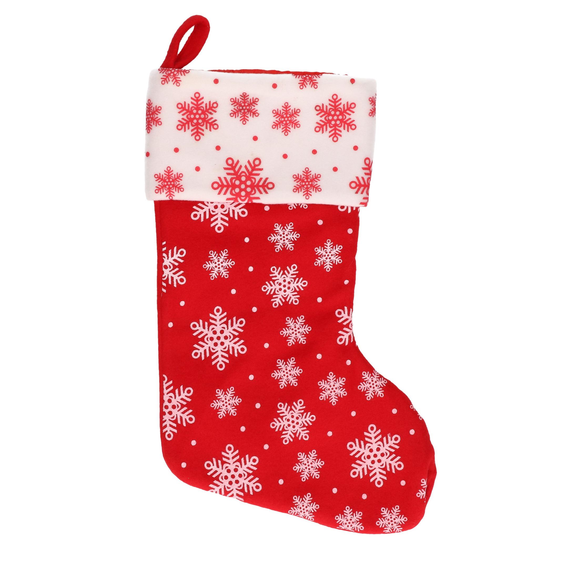 1x Rood-witte kerstsokken met sneeuwvlokken print 40 cm