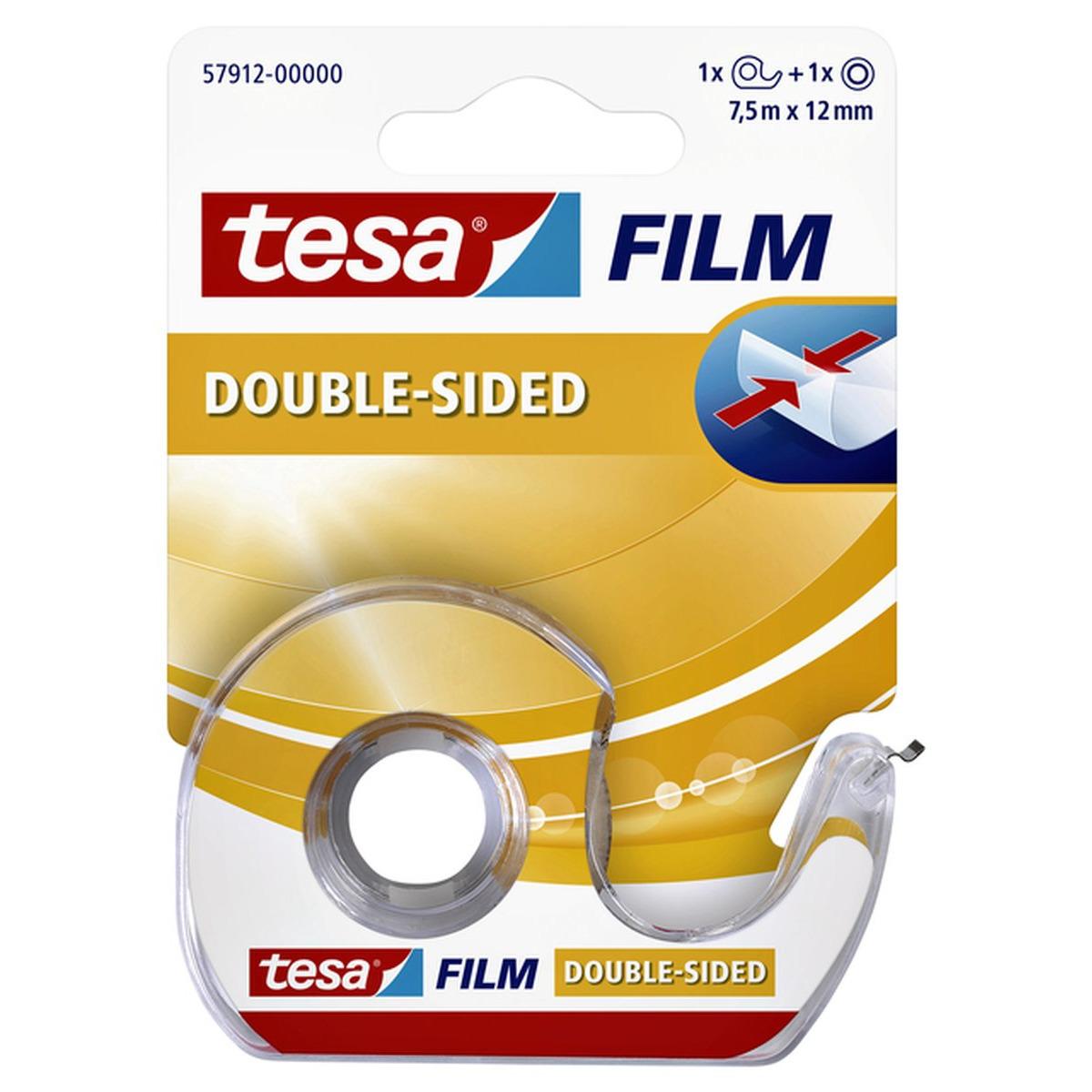 1x Tesa dubbelzijdig tape-plakband 7,5 meter met dispenser-houder