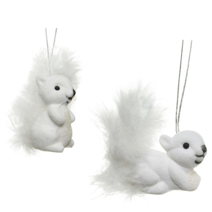 2x Kerstboomhangers witte eekhoorns 6 cm kerstversiering