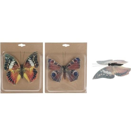 2x Vlinder versiering op clip 17 cm