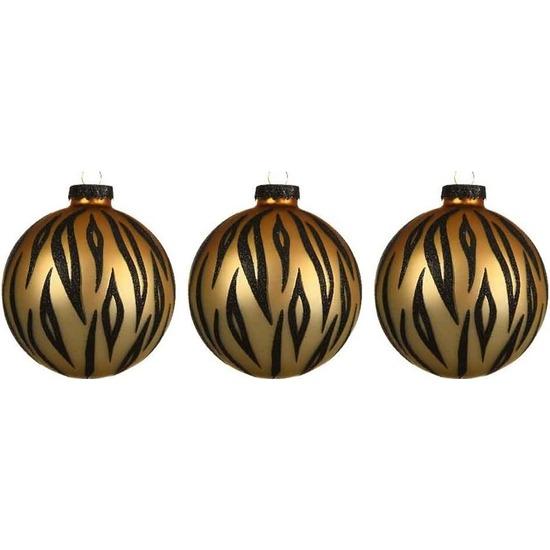 3x Tijger print kerstballen 8 cm matte glas kerstversiering