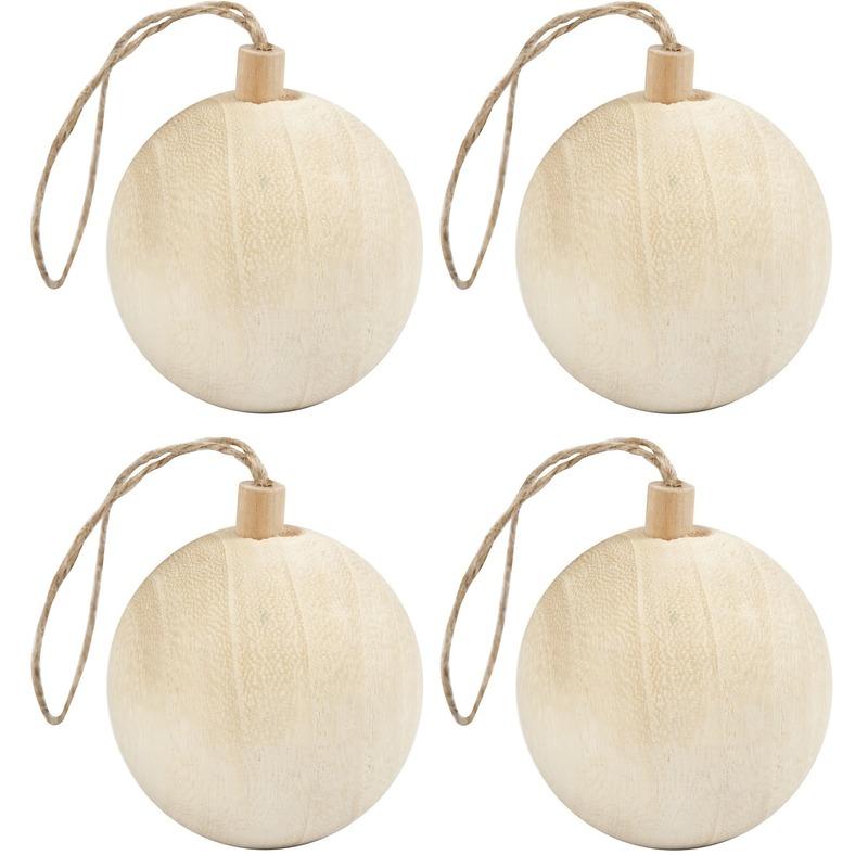 4x Licht houten kerstboom ballen versiering 6,4 cm