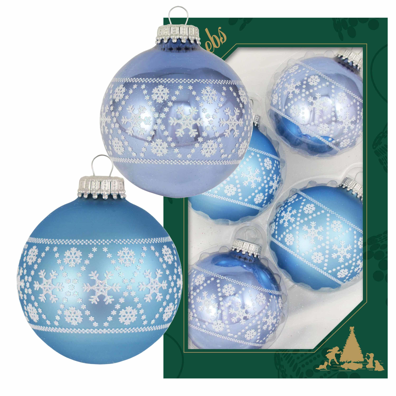 4x Luxe blauwe glazen kerstballen met witte sneeuwvlokken 7 cm