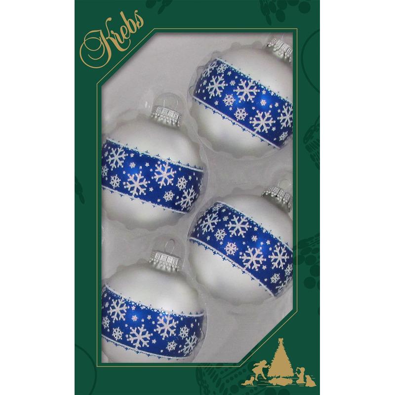4x Luxe witte glazen kerstballen met blauwe opdruk 7 cm