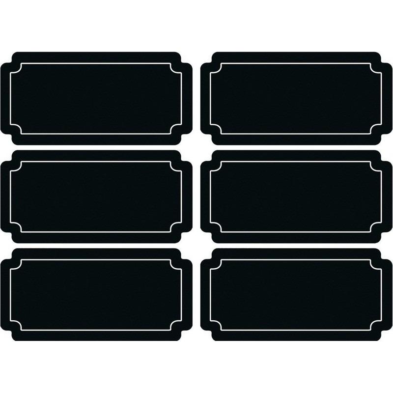 6x Beschrijfbare etiketten-labels-stickers krijtbord herbruikbaar
