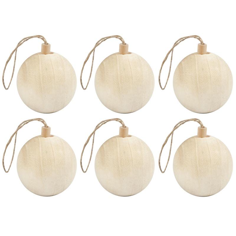 6x Licht houten kerstboom ballen versiering 6,4 cm