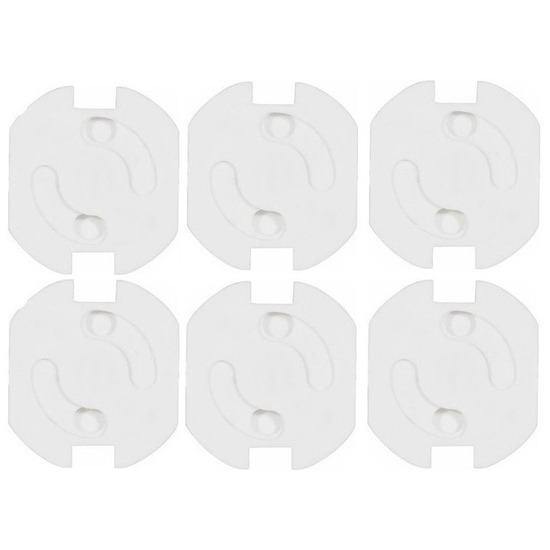 6x Stopcontact beveiliging klem-stopcontactbeveiligers wit