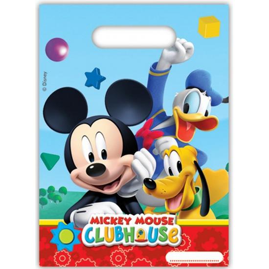 6x stuks Mickey Mouse feestzakjes-uitdeelzakjes