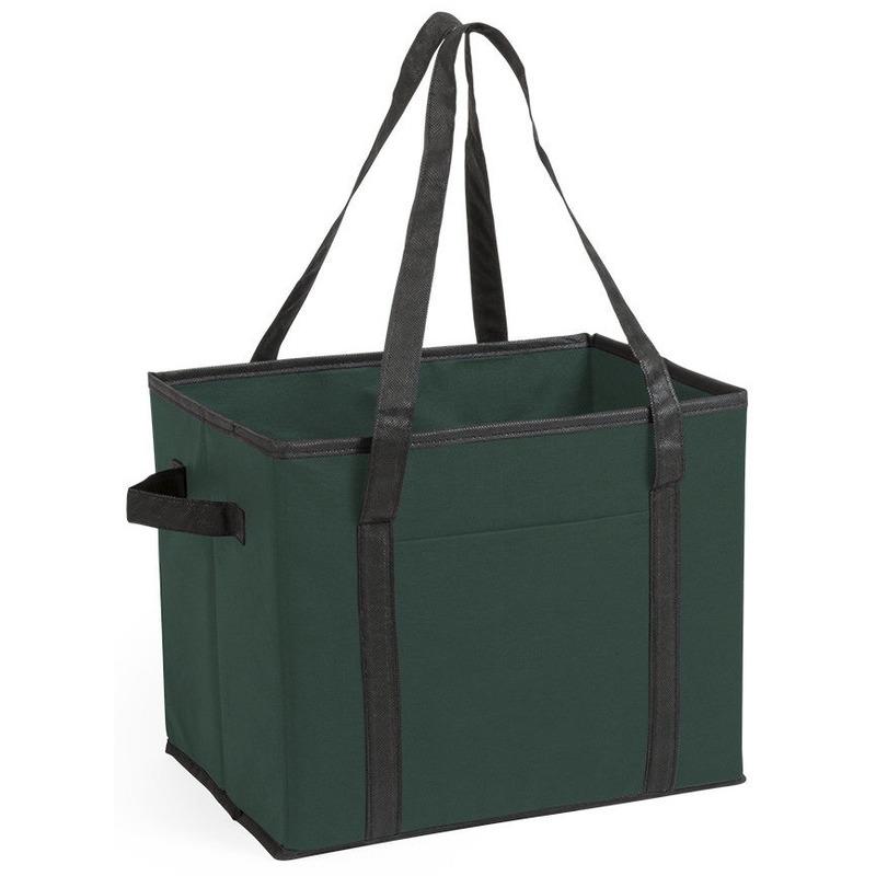 Auto kofferbak-kasten organizer tas groen vouwbaar 34 x 28 x 25 cm