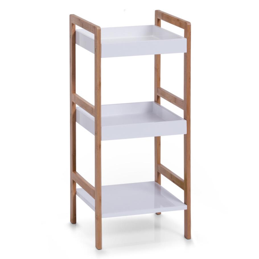 Bamboe houten bijzet kastje wit-bruin met 3 planken 36 x 80 cm
