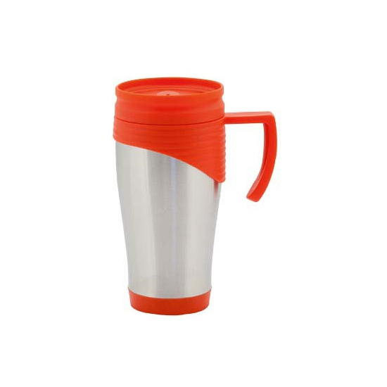 Beker thermos rvs 400 ml rood