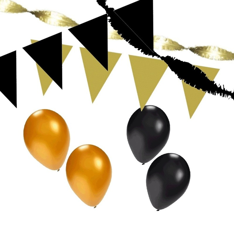 Black and Gold feest thema versiering pakket XL