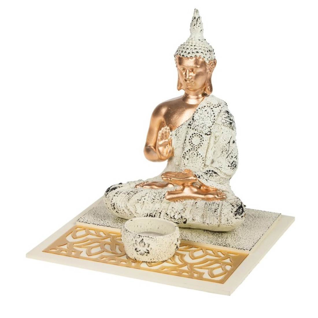 Boeddha beeld met waxinelichthouder voor binnen 19 cm
