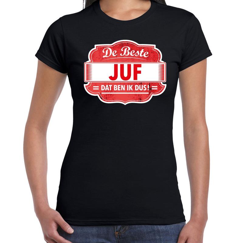 Cadeau t-shirt voor de beste juf zwart voor dames