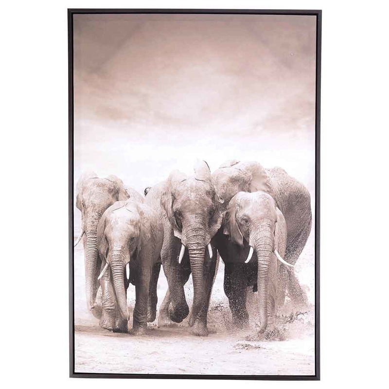 Canvas schilderij 90 x 60 cm olifanten print
