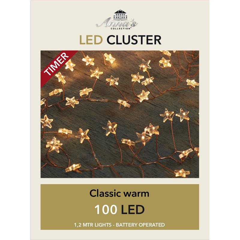 Cluster draadverlichting met timer 100 sterren op batterij wit