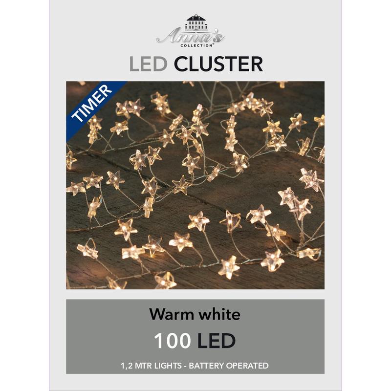 Cluster draadverlichting met timer 100 sterren op batterij