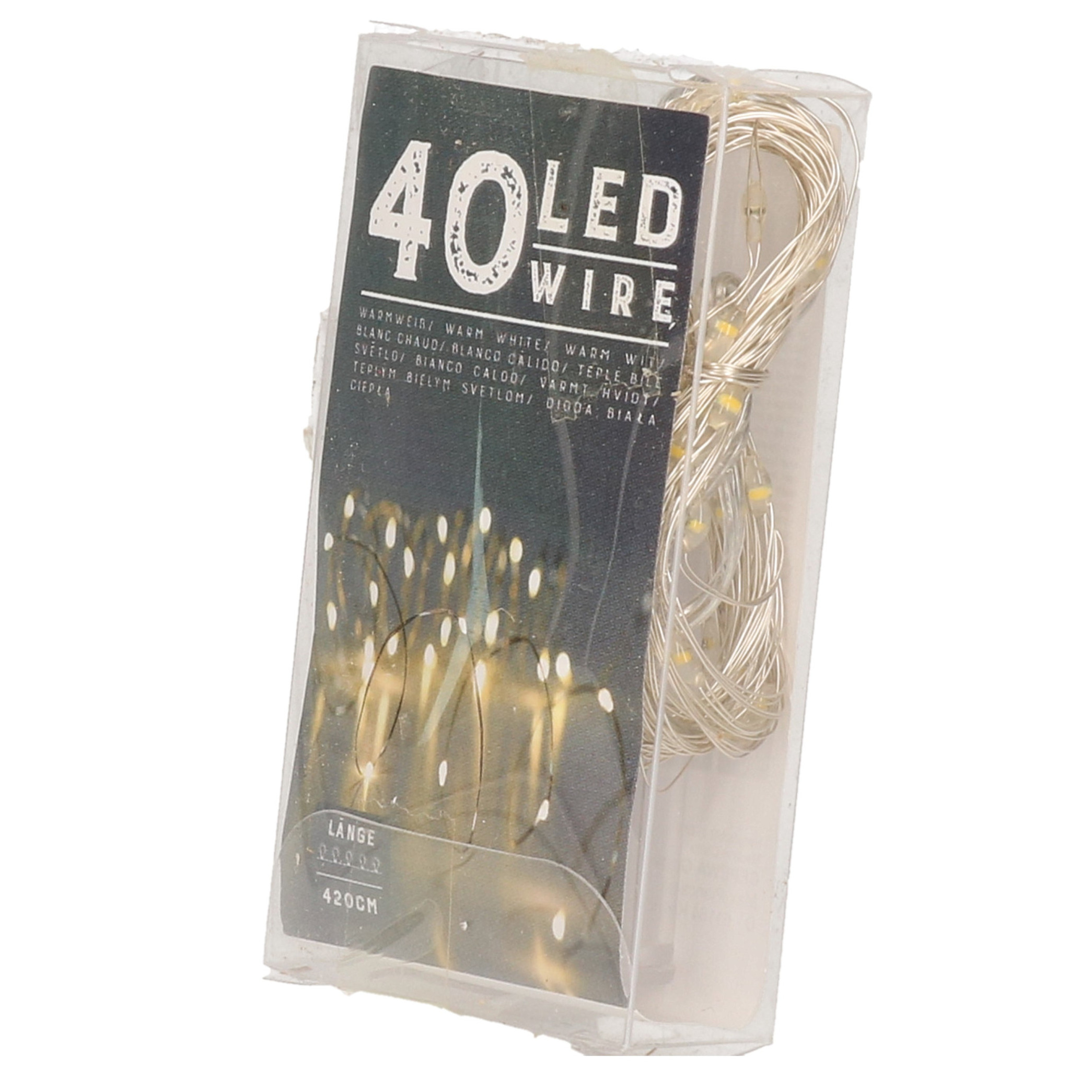 Draadverlichting lichtsnoer met 40 lampjes warm wit op batterij 420 cm