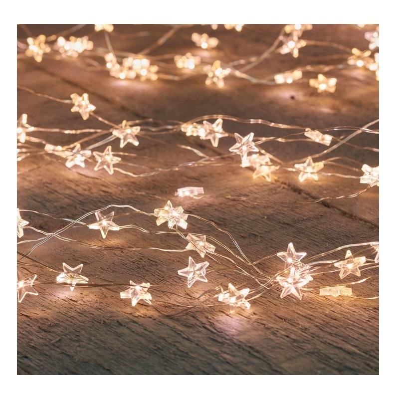 Draadverlichting met timer 20 warm witte sterren op batterij
