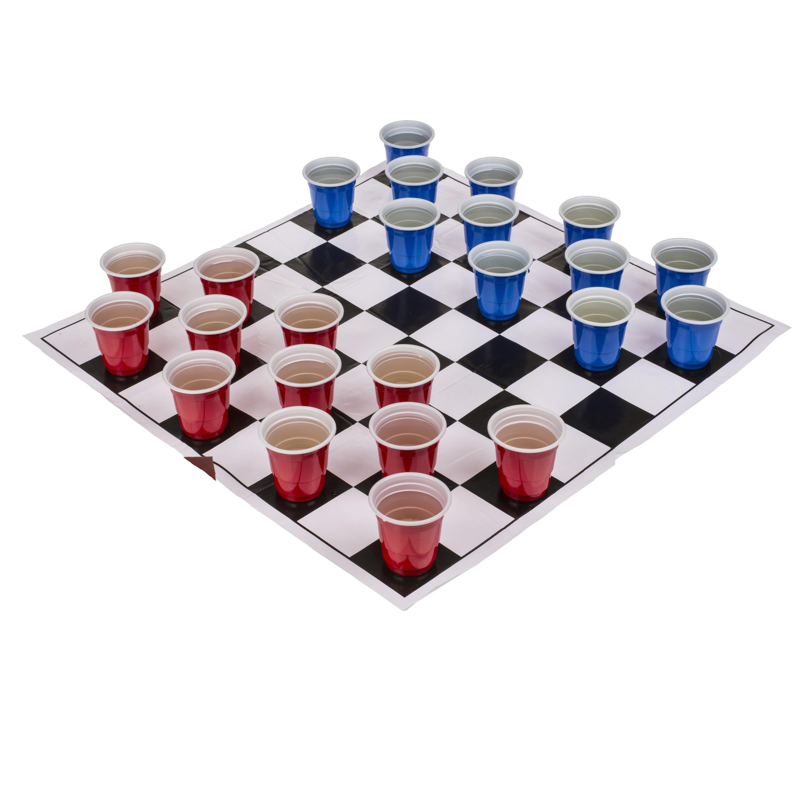 Drankspel-drinkspel shotjes dammen met 24 bekertjes