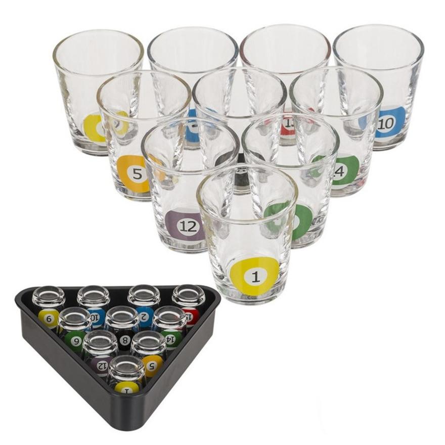 Drankspel-drinkspel shotjes snooker met 10 glaasjes