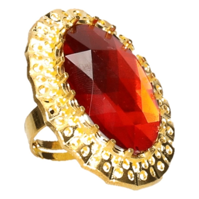 Feest Sinterklaasring verkleedaccessoire goud-rode verstelbare ring voor heren