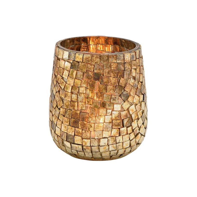 Glazen design windlicht-kaarsenhouder mozaiek champagne goud 11 x 10 cm