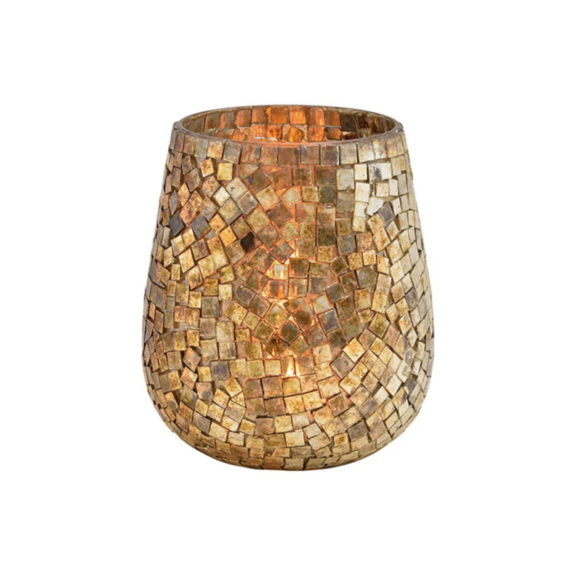 Glazen design windlicht-kaarsenhouder mozaiek champagne goud 15 x 13 cm