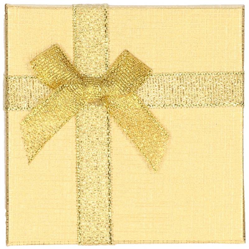 Goud sieradendoosje-cadeaudoosje 9 x 9 cm