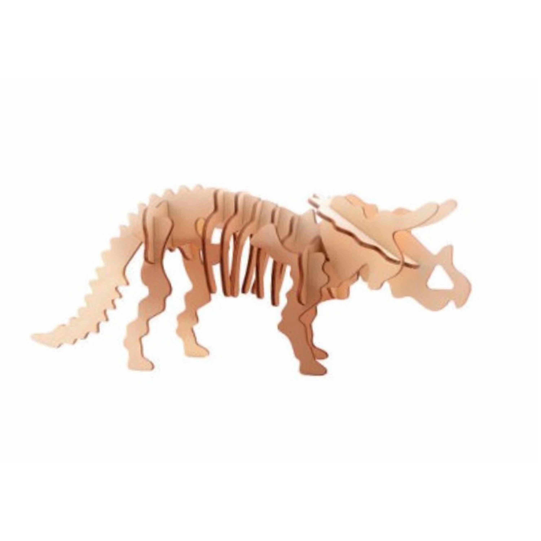 Houten 3D puzzel dinosaurus Triceratops 21 cm