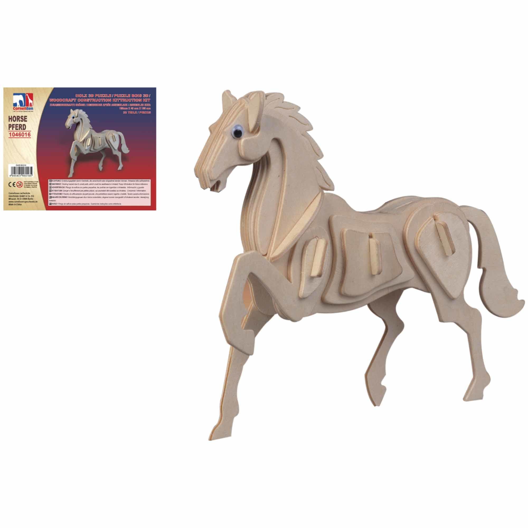 Houten 3D puzzel paard 20 cm