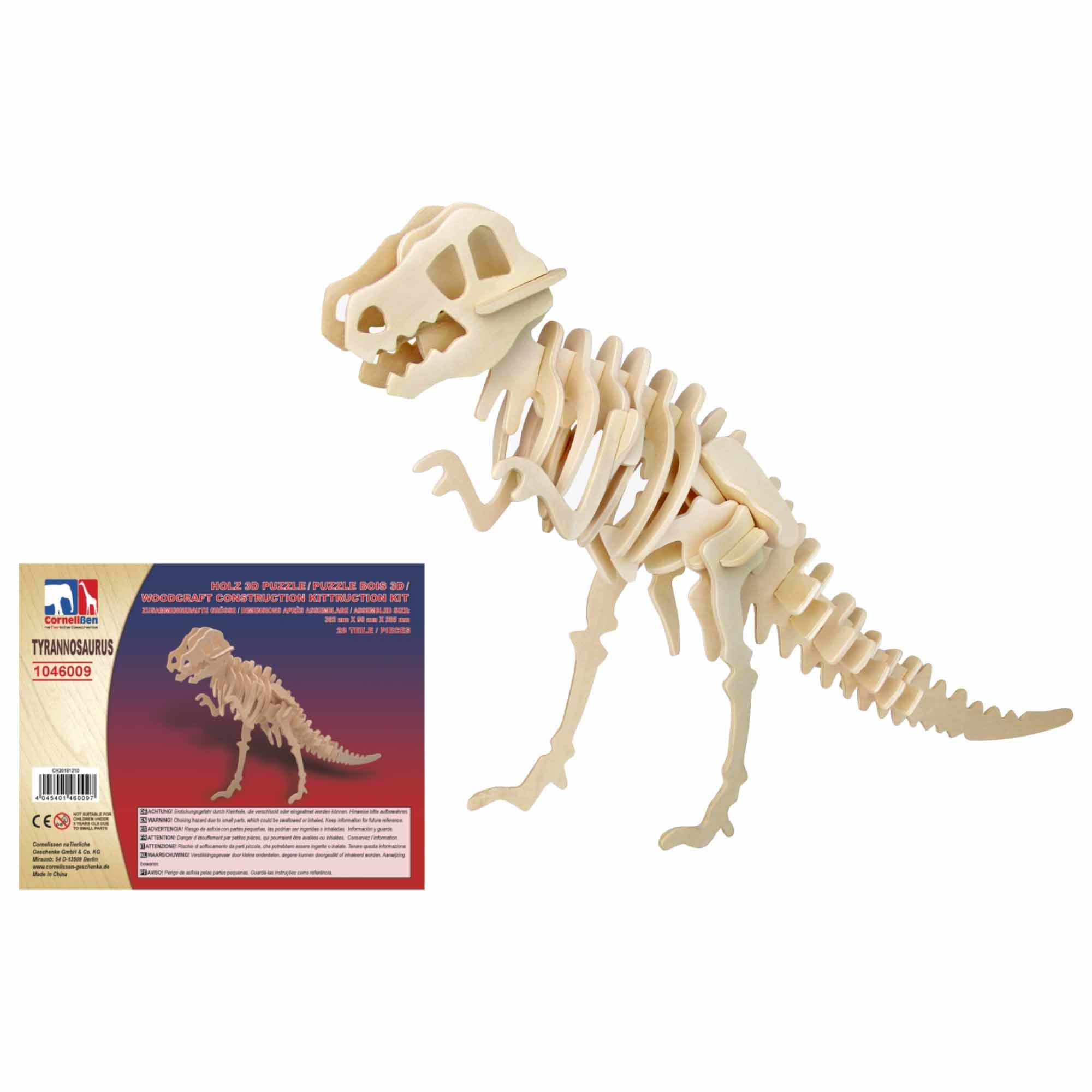Houten 3D puzzel T-rex dinosaurus 38 cm