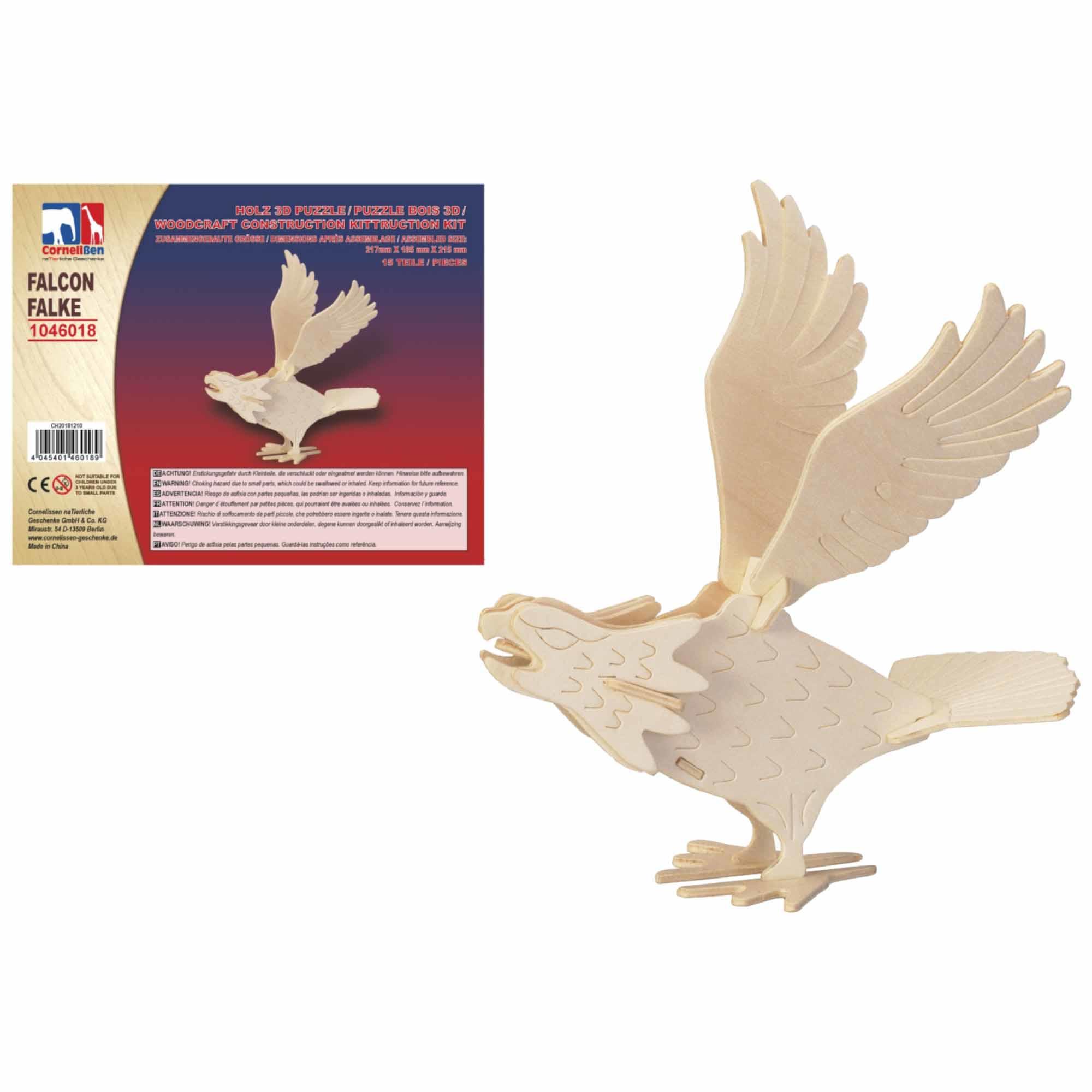 Houten 3D puzzel valk vogel 21 cm
