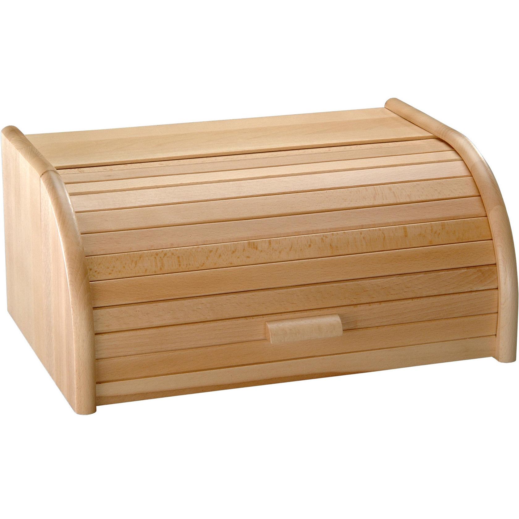 Houten broodtrommel met rolluik 28 x 40 x 18 cm