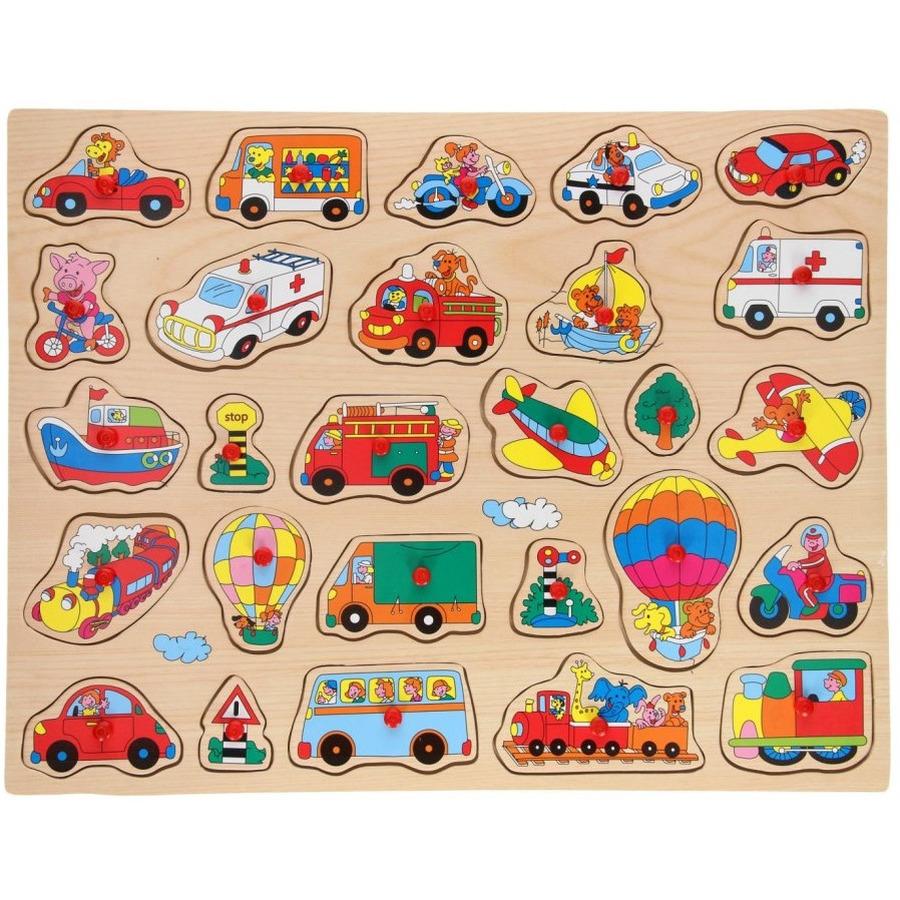 Houten knopjes-noppen puzzel voertuigen thema 45 x 35 cm speelgoed