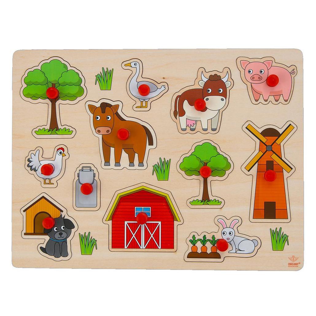 Houten knopjes-noppen speelgoed puzzel boerderij thema 30 x 22 cm