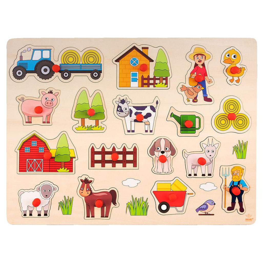 Houten knopjes-noppen speelgoed puzzel boerderij thema 40 x 30 cm