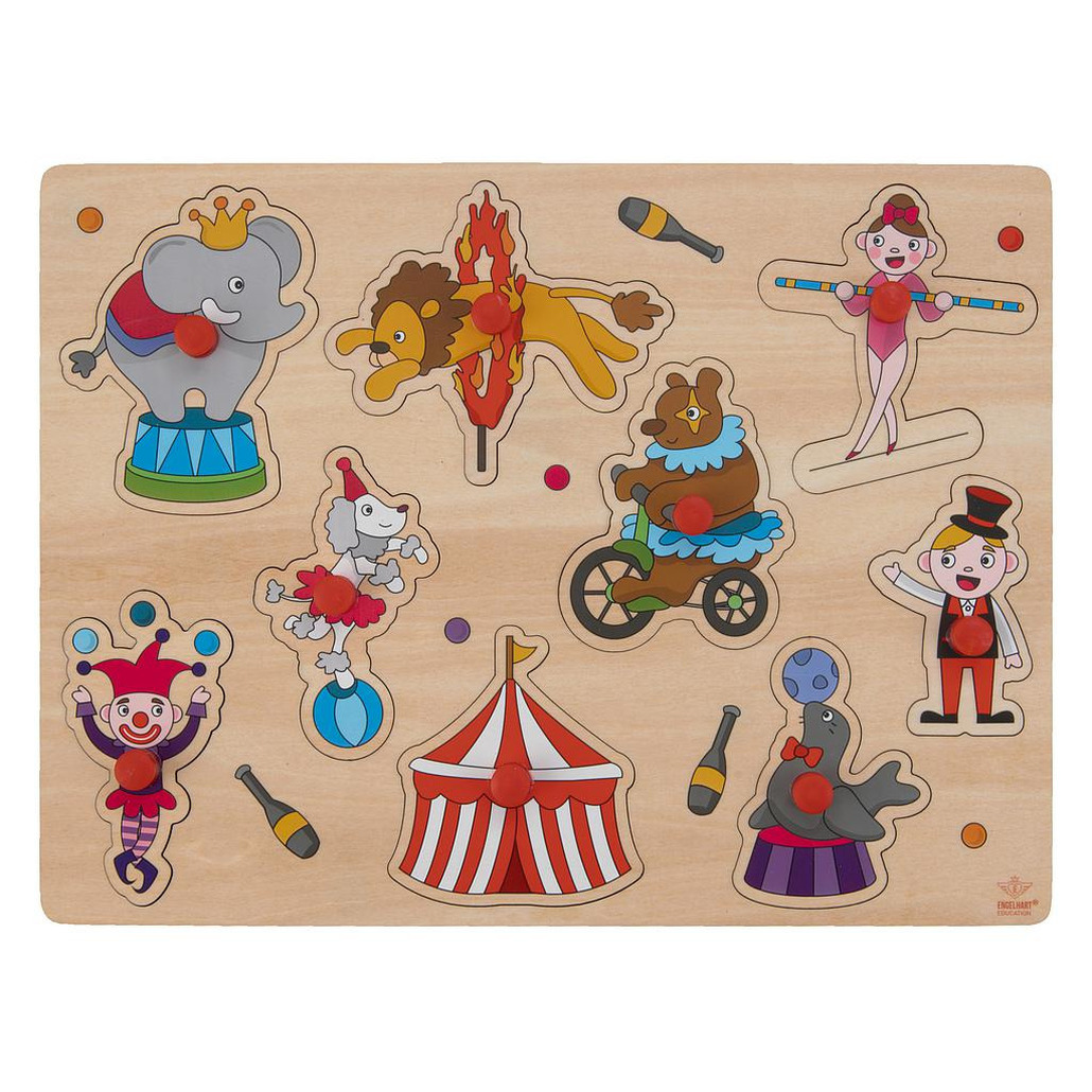 Houten knopjes-noppen speelgoed puzzel circus thema 30 x 22 cm
