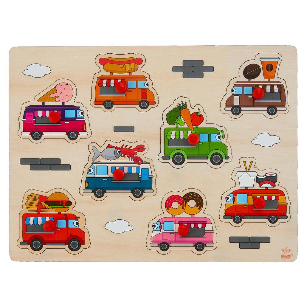 Houten knopjes-noppen speelgoed puzzel foodtruck thema 30 x 22 cm