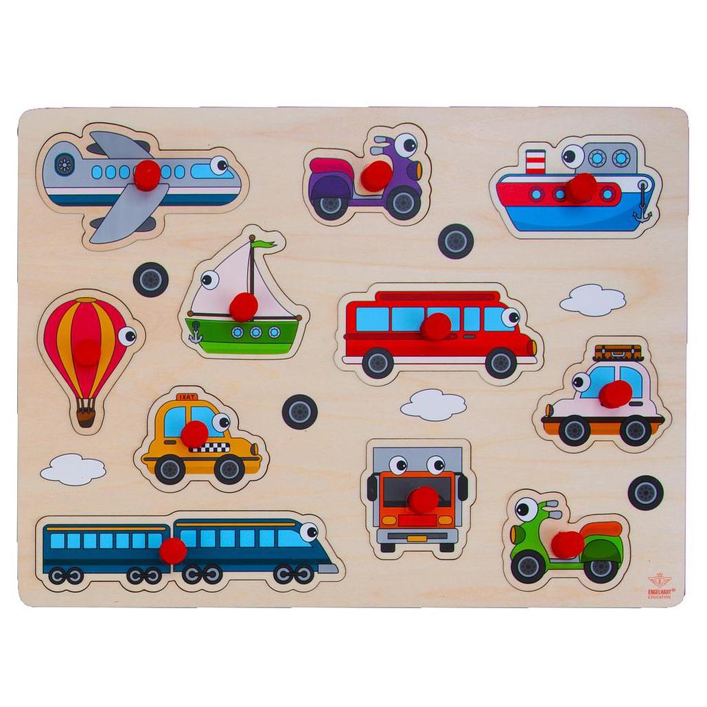 Houten knopjes-noppen speelgoed puzzel voertuigen thema 30 x 22 cm