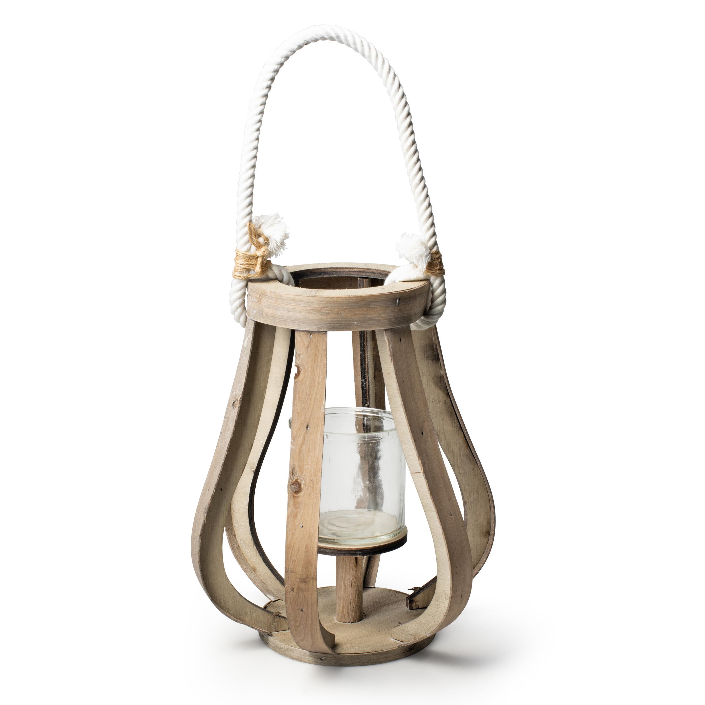 Houten windlicht kaarsenhouder lantaarn 25 cm