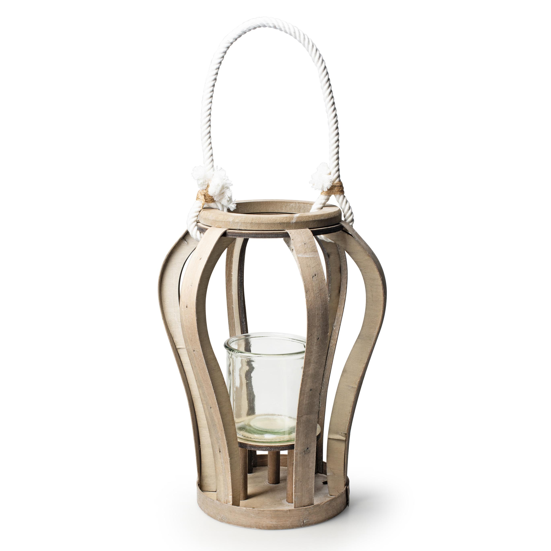 Houten windlicht kaarsenhouder lantaarn 33 cm