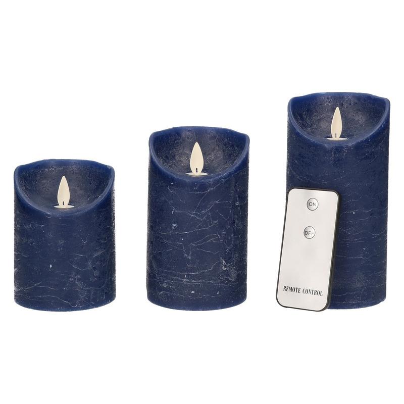Kaarsen set 3 donkerblauwe LED kaarsen met afstandsbediening