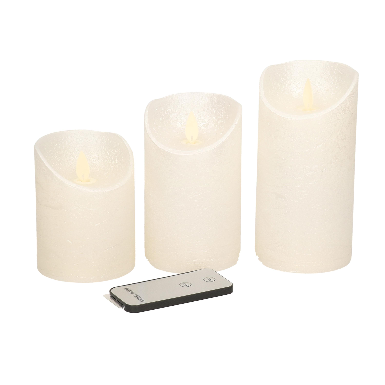 Kaarsen set 3x creme parel LED stompkaarsen met afstandsbediening